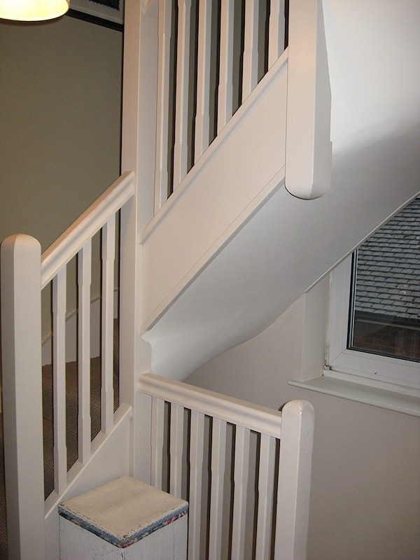 A softwood double turn winder staircase of a typical layout for a 2nd floor loft conversion to a semi detached property.