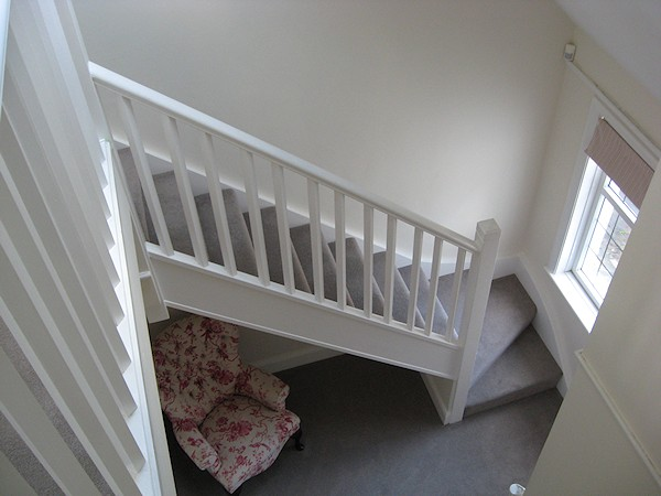 A softwood double turn, winder staircase with gallery into a new loft conversion.