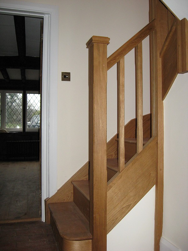 We produced this staircase that winds and splits off in each direction to the many floor levels within the very old farm cottage.