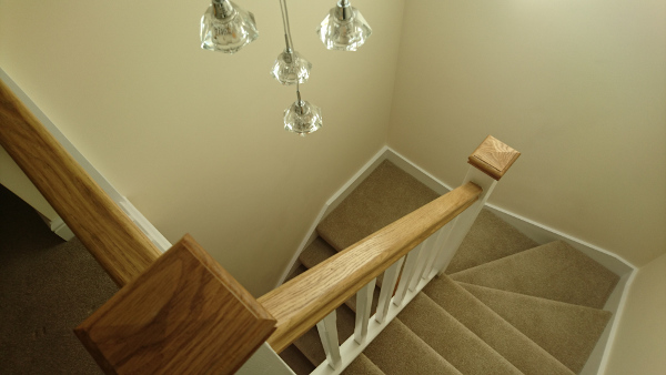 Staircases with redwood construction with stop chamfer spindles.